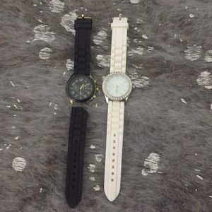 Black and white rubber watch.